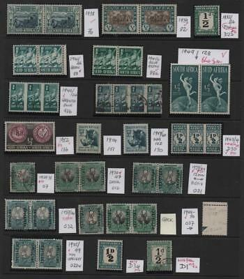 SOUTH AFRICA: 1938-60 ½d Study - Ex-Old Time Collection - Album Page (13848)