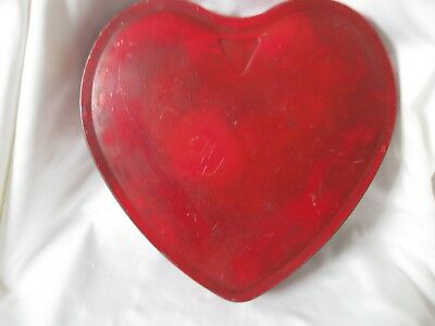Vintage/Antique Red Heart Shaped TIN~