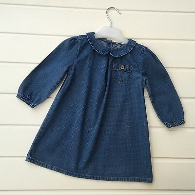 Baby Girl Clothes 12-18 Months Outfit Miniclub Denim Dress Ditsy Spotty Print