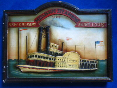 Mississippi steam boat line US mail panther wood panel advertising /display sign