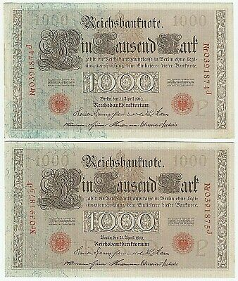 1910 German Reichsbanknotes X 2 Consec One Thousand 1000 Mark Red Serial & Seal
