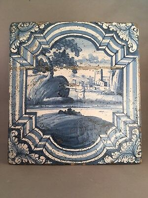 EARLY 18th CENTURY LARGE TIN-GLAZED DELFTWARE STOVE TILE CIRCA 1720.