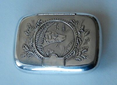 Antique Vintage Snuff Box Silverplate Reed and Barton Embossed Hunting Dog