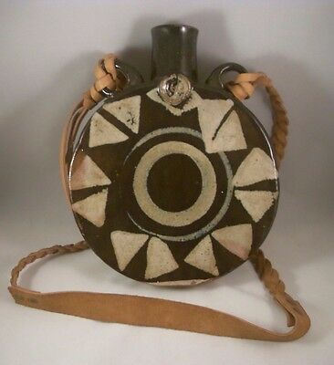 Vintage American Folk Art Stoneware Pottery Canteen With Braided Leather Strap