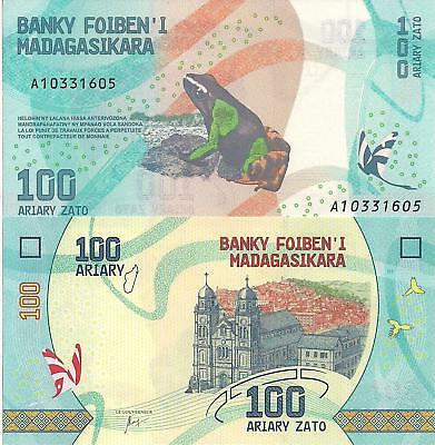 MADAGASCAR 100 Ariary Banknote World Paper Money Currency Pick p-NEW 2017 Frog
