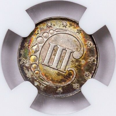 Choice Rainbow Toned 1852 Silver Three Cents 3c NGC MS62 - Colorful Toning