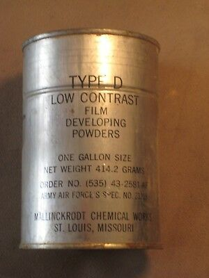 U.S Military Film Developer Powder Type D Low Contrast One Gallon Vietnam Era