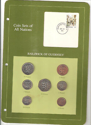 "L-too: GUERNSEY ""COIN SETS OF ALL NATIONS"" ~~ LOW MINTAGE, 7 COINS, STAMP. 1985"