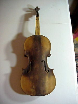 Antique 19th Century VIOLIN with Inlaid Back RESTORE OR PARTS