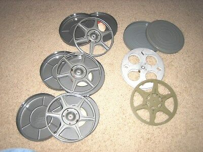 "5 vintage 7""/400-feet aluminum Kodascope Agfa Compco 16mm film reels and 4 cans"