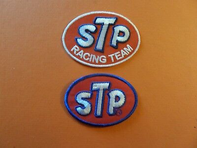 """Lot Of 2-""""stp Motor Oil"""" Iron On Embroidered  Patches"""
