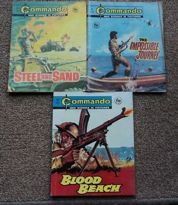 3 x COMMANDO WAR STORIES IN PICTURES,  EARLY ISSUES  No 721,722 & 723.
