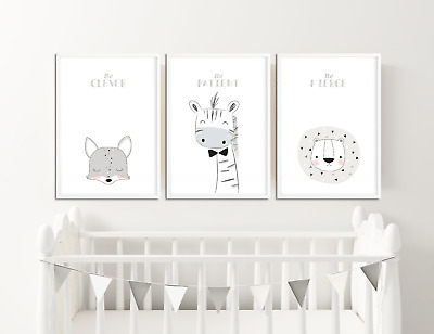 Scandinavian Nursery Framed Animal Prints Pictures Decor Neutral Colours