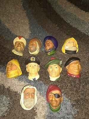 Vintage Lot of 10 Bosson Chalkware Heads