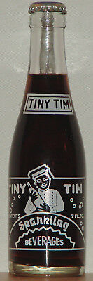 Tiny Tim 7oz ACL Soda Bottle Man Servant w/Bottle Picture 1969