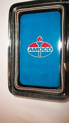 Amoco Standard Gas Station Motor Oil Blu Advertising Sign Logo Glass PAPERWEIGHT