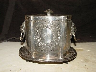 Old Vintage Silverplate Ornate Lion Heads Footed Tea Caddy Biscuit Barrel
