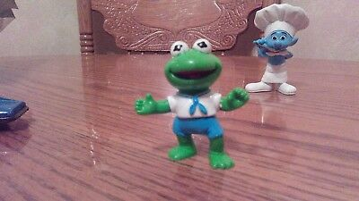 Genuine  Vintage (1986) Baby  Kermit The Frog PVC plus Baker/ chef Smurf