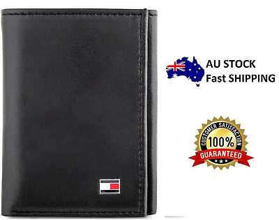 Brand New Genuine Leather Tommy Hilfiger Oxford Slim Trifold Wallet Black