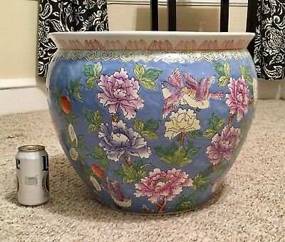 Vintage XL Hand Painted Chinese Colorful Planter / Fish Bowl Jardiniere