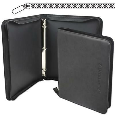 Bcw Black Collectible Gaming Card 3-Ring Leatherette Z-Binder Lx Zippered Album