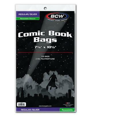 100 Bcw Resealable Silver Comic Book Poly Bags +Acid Free Backer Boards
