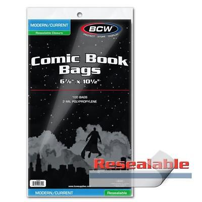 "100 BCW CURRENT MODERN AGE COMIC RESEALABLE BAGS POLY 6 7/8"" x 10 1/2"""
