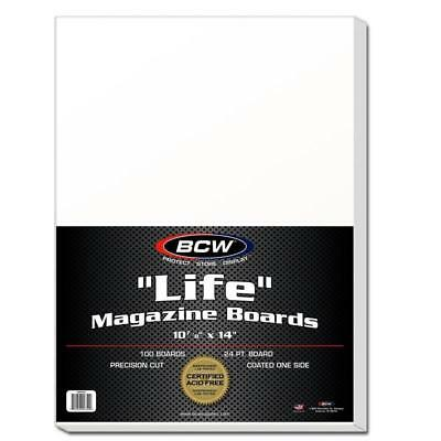 100 Bcw Life Magazine Archival Poly Bags + Acid Free Backer Boards