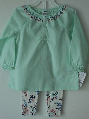 df210c9591eff 2T Carter's Toddler Girls 2-Piece Tunic Top & Floral Leggings Set Outfit NWT
