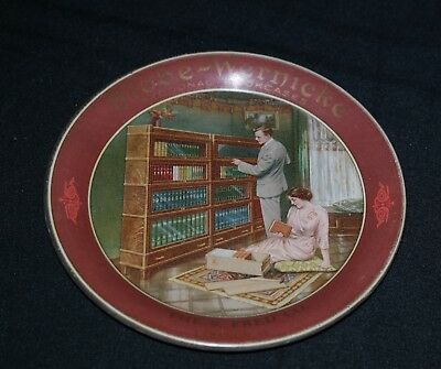 Vintage Globe Wernicke Sectional Bookcase Tin Litho Tip Tray Sign Lebanon IL
