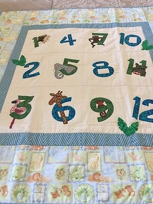 "Handmade patchwork quilt For Babies 'numbers' With Appliqué 47"" X 48"""