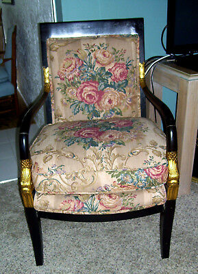 Vtg Antq French Empire Chair Black Lacquer Wood Gold Trim Overstuffed Floral