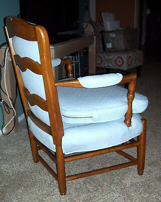 Vtg Antq Country Cottage French Chair Wood Frame Overstuffed Blue Upholstery