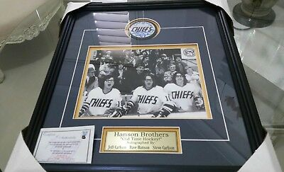 "Hanson Brothers Autographed ''old Time Hockey"" Photo & Puck Memorabilia"
