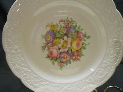 "2 Old Vintage Edwin Knowles 10"" Dinner Plates Floral Center Floral Embossed Rim"
