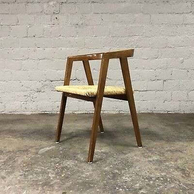 Mid Century Modern Alan Gould Compass Style Chair Rush Seat Wood Danish Vintage