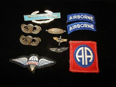 Original WWII US Airborne Paratrooper Patches Ribbon Medal Wings