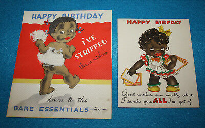 PAIR ~ VTG 1940's HALLMARK HALL BROTHERS DIE CUT BLACK AMERICANA GREETING CARDS