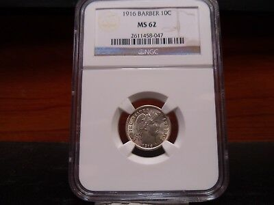 1916 MS62 Barber Dime NGC Certified - Super Nice for the assigned grade