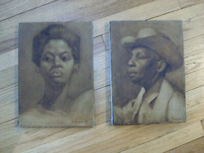 Vtg Pair of African-American Paintings,Signed,1961