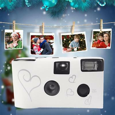 White Wedding Party Single Use Disposable Cameras with Greeting Card