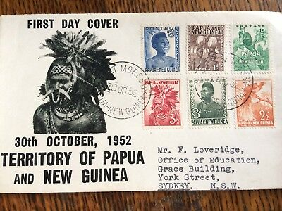1952 Territory of Papau and New Guinea First Day Cover Set of 6 stamps