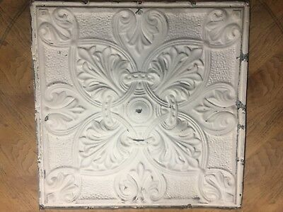 "Vintage Antique 24"" Tin Ceiling Tile Panel Vtg Metal 2' x 2'"