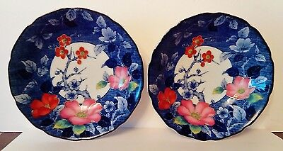 Pair of Vintage Oriental Japanese Bowls - Blue & White with Flowers