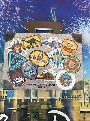 Walt Disney World 50 Vintage Style Passport  Luggage Decals Set, NEW 2018