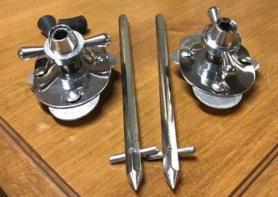 Rogers Vintage Swivomatic Bass Drum Spurs & Mount Brackets Holiday 60s - Nice!