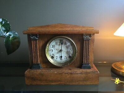 Sessions American Mantel clock cleaned and oiled keeps good time.