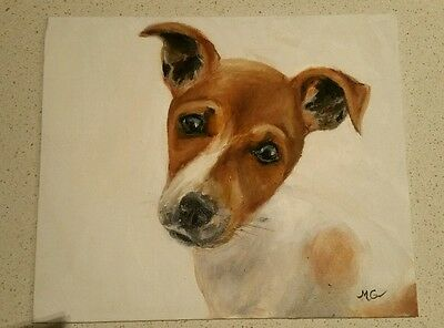 Original Jack Russell Terrier Puppy Dog Portrait Oil Painting