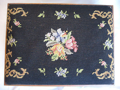Antique Needle Point Footstool Classic Black Floral Maple Base 1900-1950 Beauty