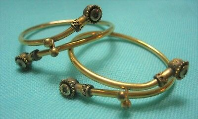 Antique Victorian Rolled Gold Pair of Bracelet Bangle